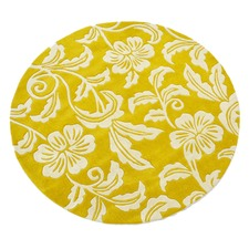 Yellow Halb Round Wool-Blend Rug