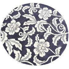 Charcoal Halb Round Wool-Blend Rug