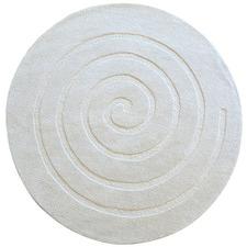 White Swirl Hand Woven Round Rug