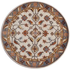 Grey & Cream Hanette Kashan Round Wool-Blend Rug