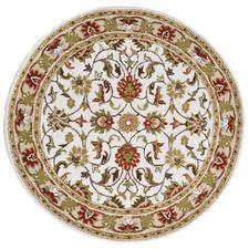 Ivory & Cream Kashan Round Wool-Blend Rug