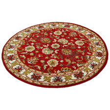Red & Cream Kashan Round Wool-Blend Rug