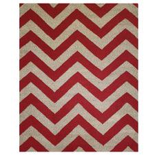 Red Chevron Panorama Wool Rug