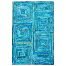 Blue Sydney Tribal Hand-Woven Sari Silk Rug