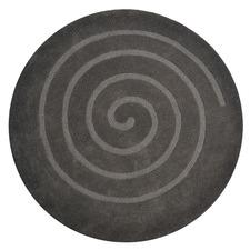 Ash Grey Swirl Wool Round Rug