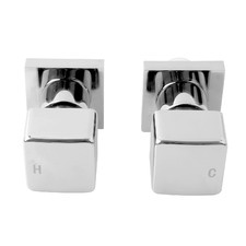 2 Piece Cube Chrome Ottimo Shower Wall Tap Set
