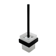 Nero Black & White Omar Stainless Steel Toilet Brush with Holder