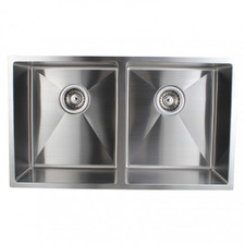 Silver Satin Stainless Steel Double Kitchen Sink Bowl