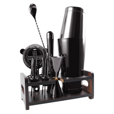 11 Piece Black Boston Stainless Steel Cocktail Shaker Set