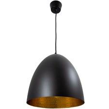 Egg Ceiling Light in Black with Beaten Brass Finish