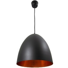 Egg Label Ceiling Light in Black with Beaten Copper Finish
