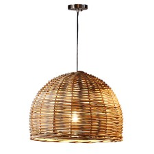 Bell-Shaped Rattan Pendant Light