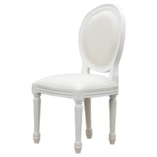 White Queen Ann Upholstered Timber Chair
