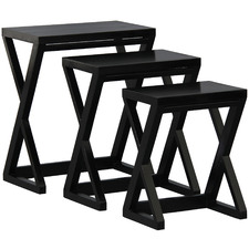 3 Piece Black Larsson Mahogany Nesting Tables Set
