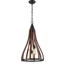 Beck Dacre 1 Light  Iron & Wood Pendant