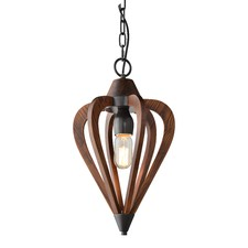 Beck 1 Light Crowundule Cherry Wood Pendant