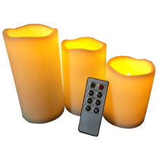 3 Piece LED Flame Candle Set