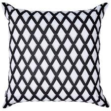 Monochrome Trellis Linen Cushion
