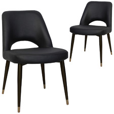 Black Richmond Faux Leather Dining Chairs (Set of 2)