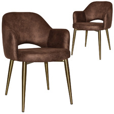 Richmond Eastwood Fabric Armchairs with Brass Legs (Set of 2)