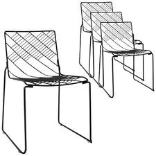 Black Hokkaido Metal Dining Chairs (Set of 4)
