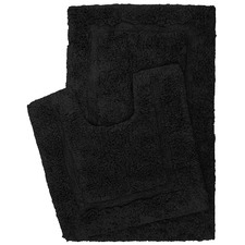 Retreat 2 Piece Cotton Bath Mat Set Black