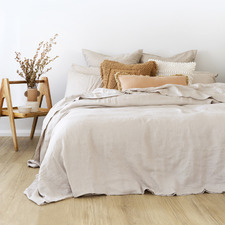 Cream Pebble Linen Quilt Cover Set