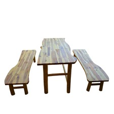 Dark Tree Table and Bench Set