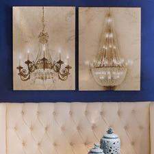 2 Piece Light Chandelier Wall Art Set