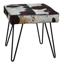 Square Cow Hide Stool