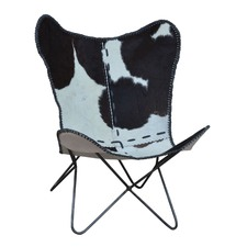 Black & White Clerin Cow Hide Butterfly Chair