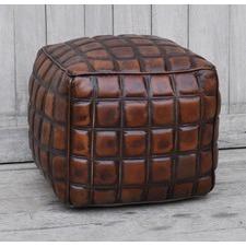 Xera Checkered Leather Ottoman