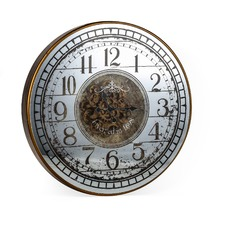 82cm Mirrored Round Wall Clock - Batteries Not Included