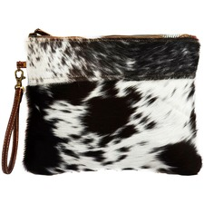 Zip Cow Hide Clutch Bag