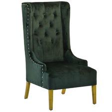 Green Wingback Velvet Armchair