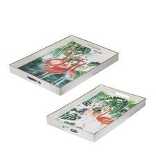 2 Piece Flamingo Tray Set