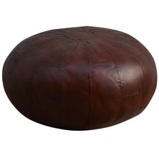 Large Coffee Leather Ottoman