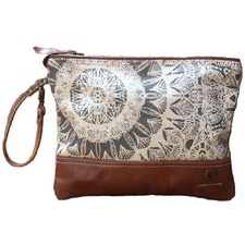 Cheyenne Canvas & Leather Zip Clutch Bag