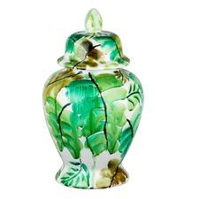 Green Leaf Ceramic Jar