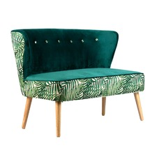 Green Fern Canvas & Velvet Curved Sofa