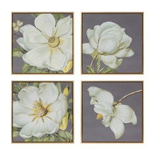 4 Piece Magnolia Framed Canvas Wall Art Set