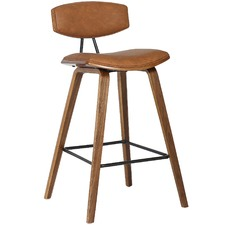 Tan Retro Faux Leather Barstool