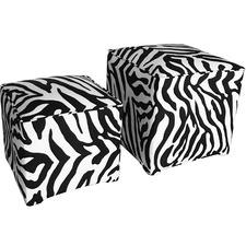 2 Piece Monique Zebra Print Velvet Ottoman Set