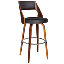 65cm Black Swivel Walnut Barstool