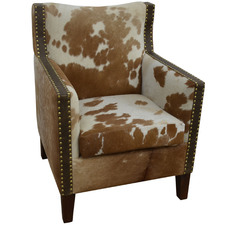 Brown Shelly Cow Hide Armchair
