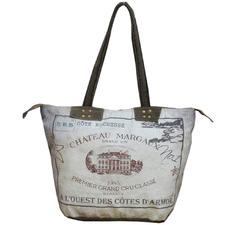 Chateau Margaux Leather & Canvas Handbag