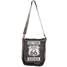 Route 66 Goat Leather & Canvas Satchel