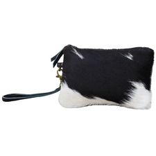 Indy Cowhide Zip Top Clutch