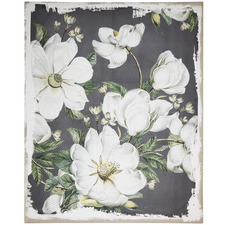 Magnolia Blooms Linen & Wood Wall Art