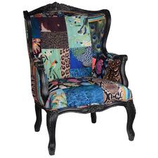 Exotic Patchwork Bird Velvet Armchair